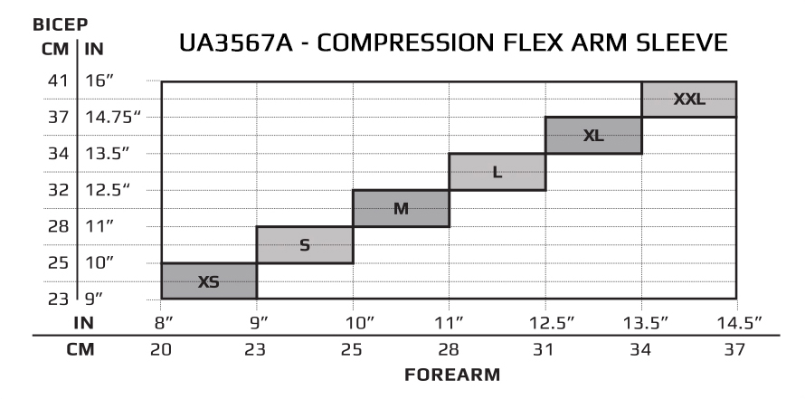 2XU Compression Flex Arm Sleeve SIZE CHART