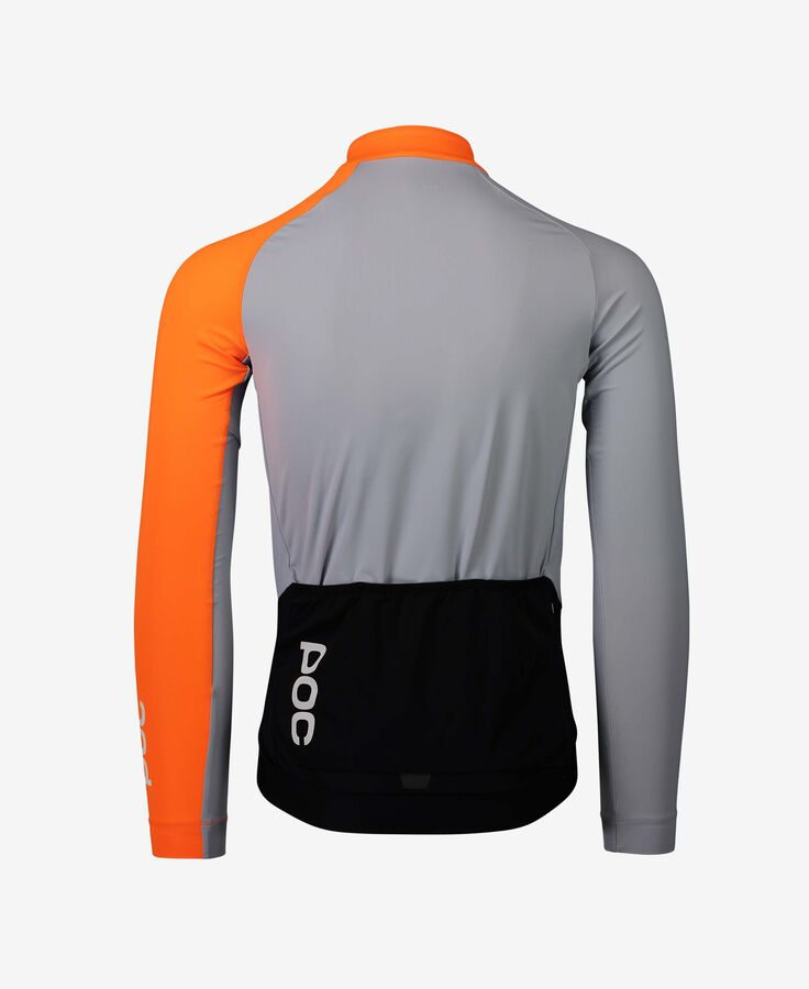 MAGLIA CICLISMO POC ESSENTIAL ROAD MID LS JERSEY 58210 grey orange back view.jpg