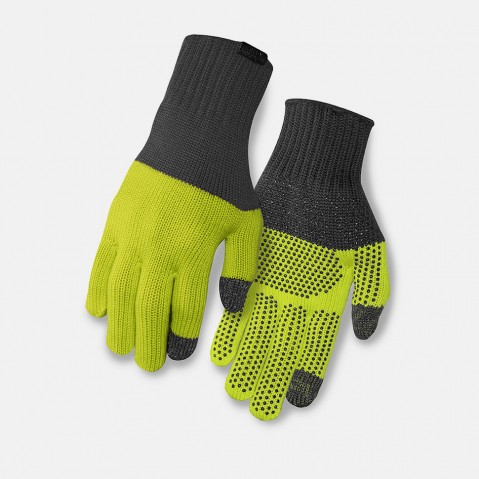 guanti ciclismo in lana GIRO MERINO KNIT WOOL GREY LIME GR770
