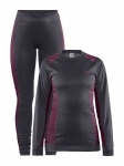 CRAFT CORE DRY BASELAYER SET WOMEN BLACK AND BORDEAUX